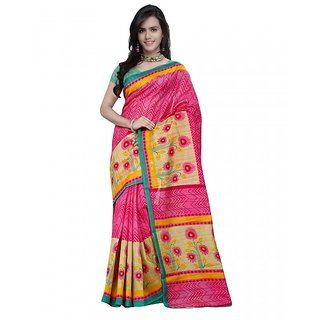 Prafful Pink Silk Printed Saree With Blouse