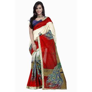 Prafful Red & Cream Silk Printed Saree With Blouse