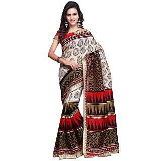 Prafful Cream and Red Bhagalpuri Silk Printed saree with unstitched blouse