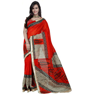 Prafful Brown & Red Silk Printed Saree With Blouse