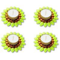 Decorated Florescent Green Floating Kundan Diya Tea Light Candle - Set Of 4