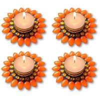 Decorated Florescent Orange Floating Kundan Diya Tea Light Candle - Set Of 4