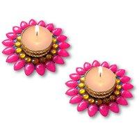Decorated Florescent Pink Floating Kundan Diya Tea Light Candle - Set Of 2