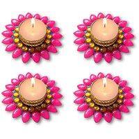 Decorated Florescent Pink Floating Kundan Diya Tea Light Candle - Set Of 4