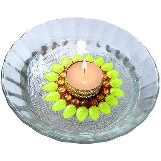 Decorated florescent green floating kundan diya tea light candle holder