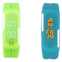 Combo Of Two Band Watches For Men Green  Skyblue