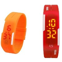 Combo Of Two Band Watches For Men Orange  Red