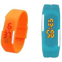 Combo Of Two Band Watches For Men Orange  Skyblue