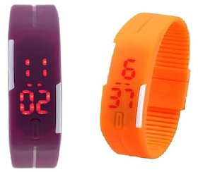 Combo Of Two Band Watches For Men Orange  Purple
