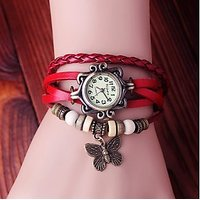 Women Leather Vintage Bracelet Watch New Style Funky Woman Watch RED BUTTERFLY