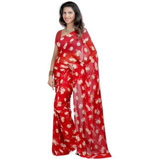 Fabdeal Red Colored Georgette Printed Saree
