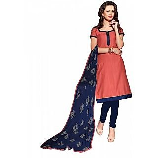 Khushali Presents Art Silk Chudidar Dress Material(Dark Peach,Navy Blue)