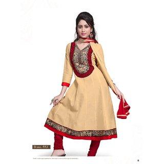 Florence Elegant Embrodried Cream Anarkali Dress Material (SB-1252)