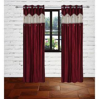 Gaurav Curtain Maroon Crush with Less border polyster curtains 2pcs