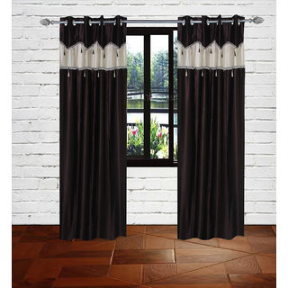 Gaurav Curtain Brown Crush with Less border polyster curtains 2pcs