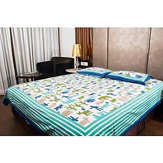 Pure Cotton Multicolor Sanganeri Print Double Bedsheet