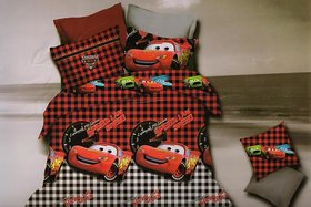 Welhouse India SPEED Car Check Design 1 Double Bedsheet With 2 Pillow Cover