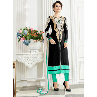 Vastrani Black  Sea Green Womens Awesome Georgette Semi-Stitched 311D3063