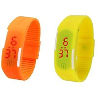 Combo Of Two Band Watches For Men Orange  Yellow