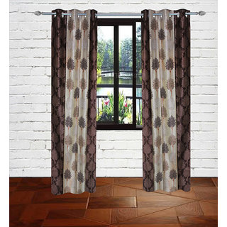 Gaurav Curtain Brown Knitting Chinaar tree design Polyster Curtain 2pcs