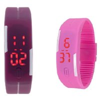 Combo Of Two Band Watches For Men Pink  Purple