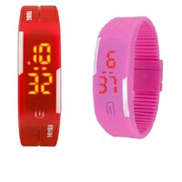 Combo Of Two Band Watches For Men Pink  Red