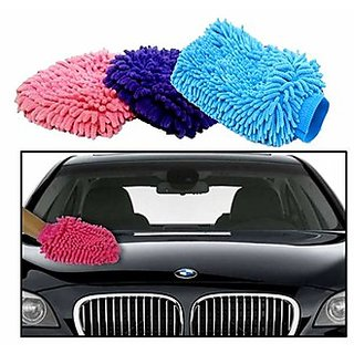 Takecare Microfiber Glove Mitt For Car Cleaning Washing For Chevrolet Beat
