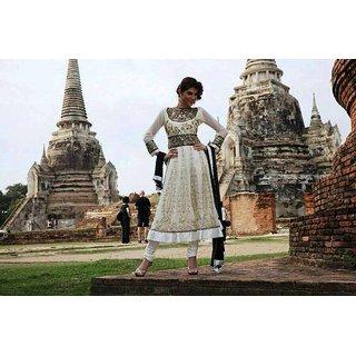 Designer Anarkali Semi Stitched Dress Material