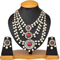 ey-437, kundan and pearl designer necklace set