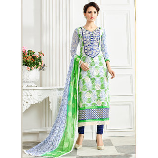 Vastrani Off-White  Blue Womens Latest Chanderi Semi-Stitched 311D3066