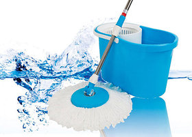 Easy Mop Blue,White Microfibre 360 Degree Rotation Steel Mop With Dual Spinners