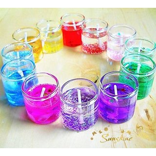 GEL CANDLE GLASS MULTI FRAGRANCE FOR HOME DECOR SPA OFFICE GIFT ( SET OF 12)