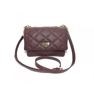 Cascara Brown Quilted Genuine Leather HandBag