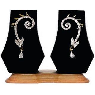 HJEC2B Heena glossy Black stone studded Ear-Cuff