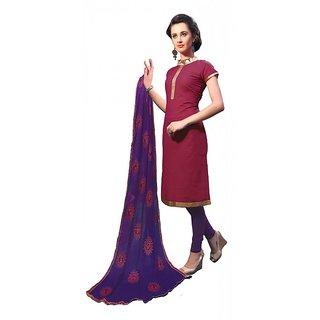 Khushali Presents Fancy Cotton Chudidar Dress Material(Magenta,Dark Purple)