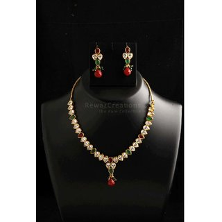 Small Kundan Necklace Set With Earrings Multi Color