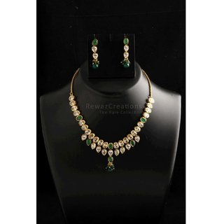 Two Line Kundan Necklace Set With Earrings Green Color