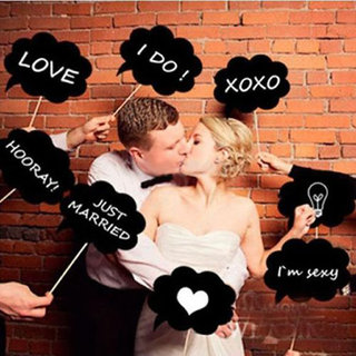 Phenovo Wedding Party Photo Booth Props Black Card Board On Stick Diy 10Pcs