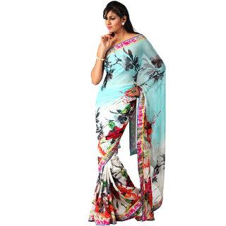 Vismit Floral Print Multicolour Sarees