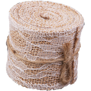 Hessian Burlap Craft Ribbon White Lace For Vintage Wedding Home Decor 2M