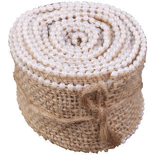 Hessian Faux Pearl Burlap Craft Ribbon For Vintage Wedding Home Decor 2M
