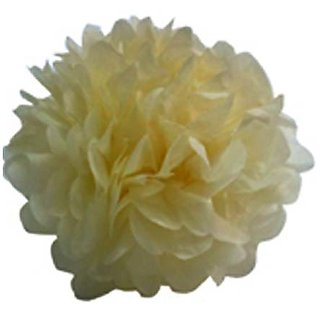 4 Tissue Paper Pom-Pom Flower Ball Wedding Party Decoration - Pale Yellow