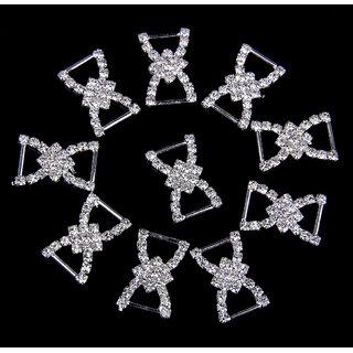Phenovo Double D Bowknot Rhinestone Ribbon Buckles Sliders 10Pcs