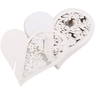 Heart Shape Glass Place Cards Wedding Party Table Decor 50Pcs White
