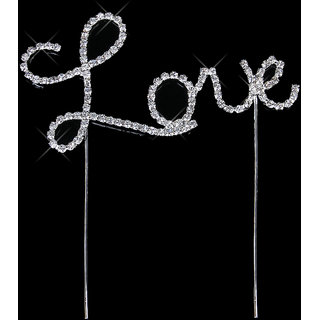Crystal Rhinestone Letter Love Cake Topper Wedding Decoration