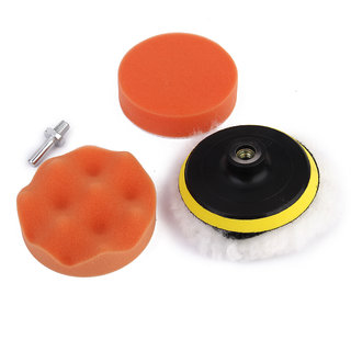5Pcs 4 Inch Drill Thread Sucker Wool Cleaning Polishing Sponge Buffing Pad