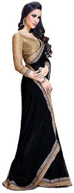 Roopali Creations Beige Linen Lace Saree With Blouse