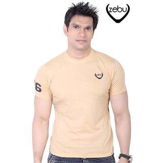 Zebu Beige Plain T-Shirt