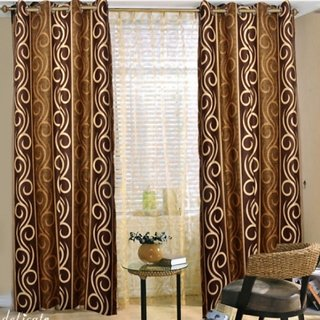 Akash Ganga Brown  White Contemporary Eyelet Door Curtain (CUR002-1)