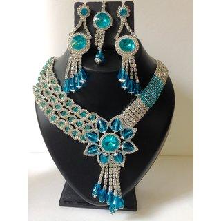 Aqua blue bridal cum evening wear necklace set